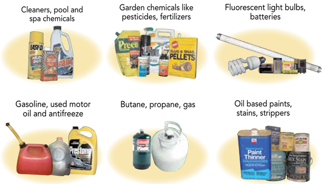 cleaners, pool spa chemicals garden chemicals light bulbs gas oil antifreez butane paint